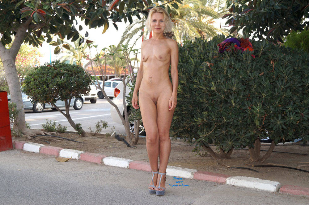 Parking Lot Nudity Blonde Hair Exposed In Public Full Nude Heels