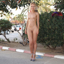 Spain - Blonde, Public Exhibitionist, Public Place, Shaved