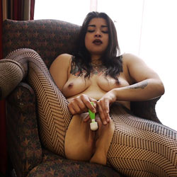 Masturbating At Home - Big Tits, Brunette Hair, Hanging Tits, Indoors, Masturbation, Natural Tits, No Panties, Perfect Tits, Shaved Pussy, Spread Legs, Stockings, Tattoo, Hairless Pussy, Hot Girl, Pussy Flash, Sexy Body, Sexy Boobs, Sexy Face, Sexy Girl, Sexy Legs, Sexy Lingerie, Toys