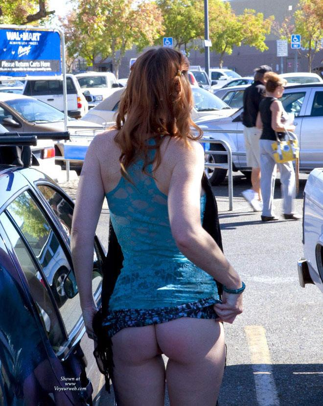 Pic #1 - Fun At WalMart - Public Exhibitionist, Public Place, Shaved, Wife/Wives, Flashing, Redhead