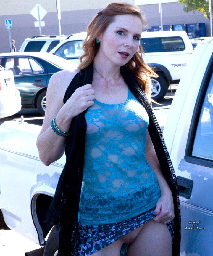 Pic #3 - Fun At WalMart - Public Exhibitionist, Public Place, Shaved, Wife/Wives, Flashing, Redhead