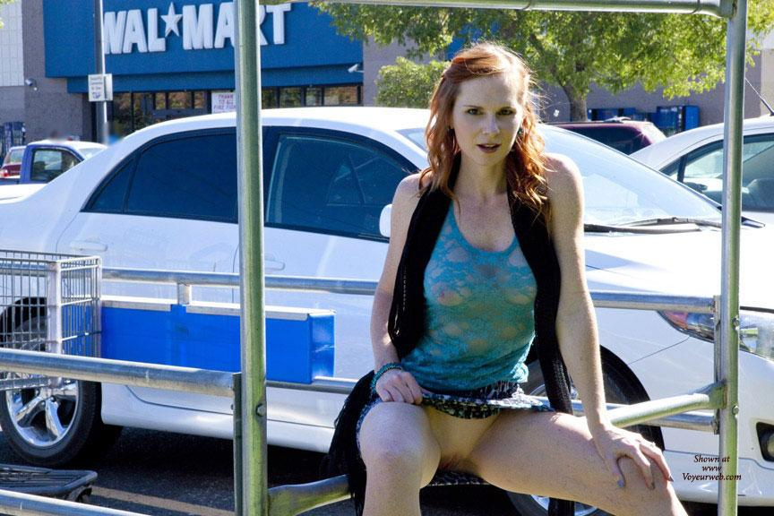 Pic #6 - Fun At WalMart - Public Exhibitionist, Public Place, Shaved, Wife/Wives, Flashing, Redhead
