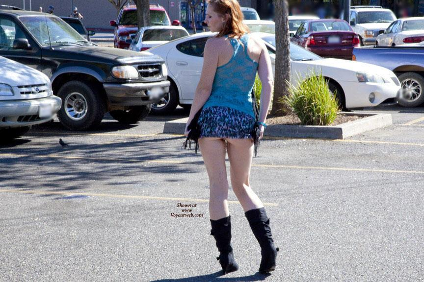 Pic #7 - Fun At WalMart - Public Exhibitionist, Public Place, Shaved, Wife/Wives, Flashing, Redhead