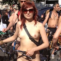 Naked Bike Ride Babe - Redhead