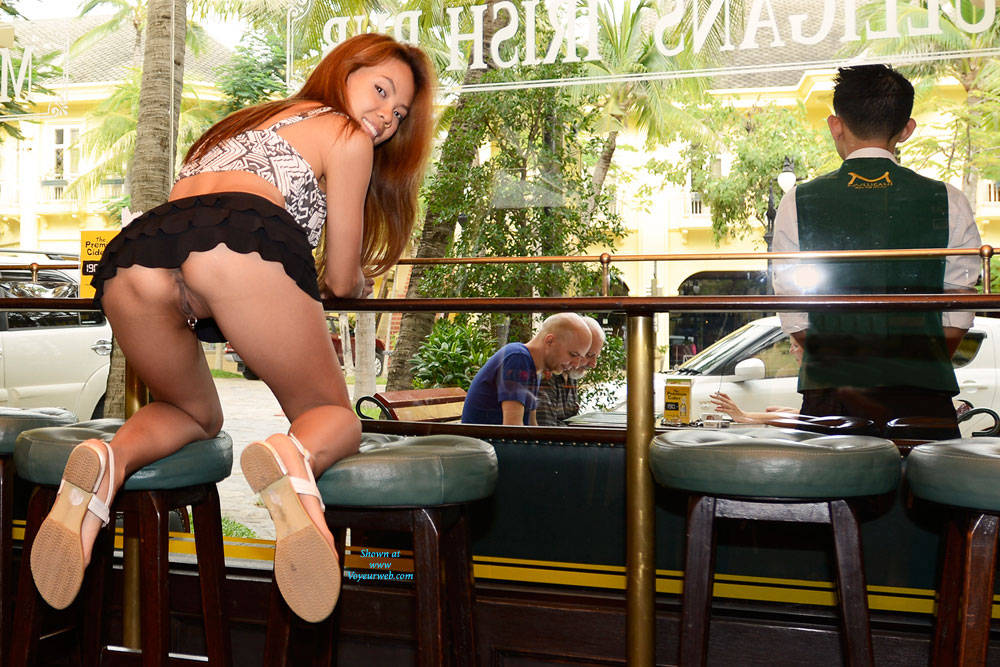 Pic #5 Flashing In The Irish Pub - Flashing, Public Exhibitionist, Public Place, Shaved, Asian