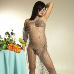 Naked With Mesh Wrapping - Big Tits, Bikini, Boots, Brunette Hair, Firm Tits, Hairy Bush, Hairy Pussy, Hanging Tits, Huge Tits, Indoors, Perfect Tits, Hot Girl, Naked Girl, Sexy Body, Sexy Boobs, Sexy Face, Sexy Figure, Sexy Girl, Sexy Legs, Young Woman