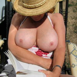 Very large tits of my wife - Bashful wife