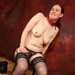 Playing With Backdrop - Big Tits, Redhead, Shaved, Sexy Lingerie