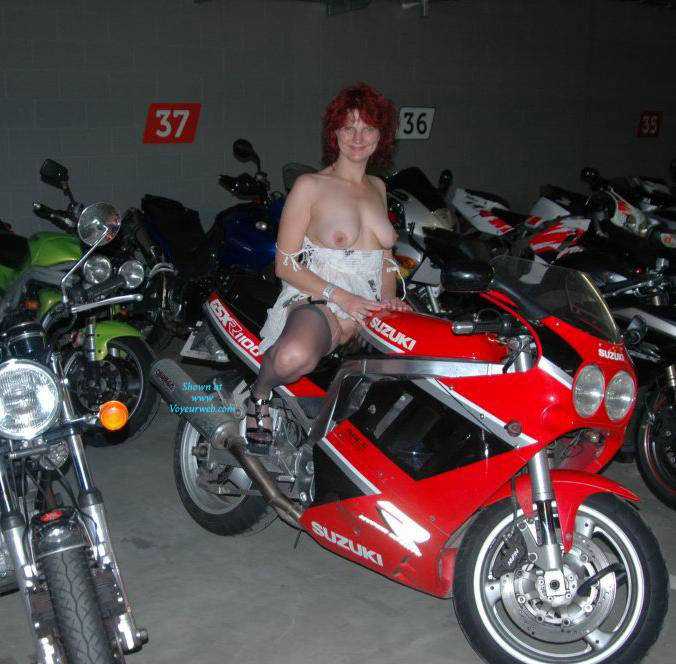 Pic #1 - Nude In The Parking Garage - Big Tits, Heels, Redhead, Sexy Lingerie , Susieb Strips With Her Bikes In The Parking Garage Under The Hotel.