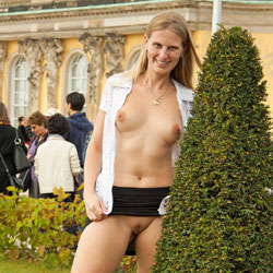 Bri At Sanssouci - Shaved, Public Place, Public Exhibitionist, Flashing, Blonde, Big Tits