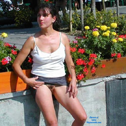 Lucie s'amuse a Chamonix - Big Tits, Brunette, Public Exhibitionist, Public Place, Bush Or Hairy