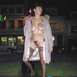 Paris la Nuit - Big Tits, Brunette, Flashing, Lingerie, Public Exhibitionist, Public Place, Bush Or Hairy