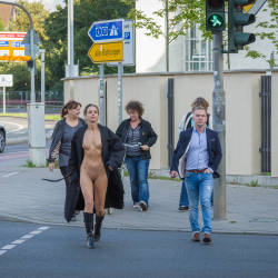 Hot And Sexy Pedestrian - Brunette Hair, Exposed In Public, Firm Tits, Flashing, Nipples, No Panties, Nude In Public, Shaved Pussy, Showing Tits, Small Breasts, Small Tits, Hairless Pussy, Hot Girl, Sexy Girl, Sexy Legs