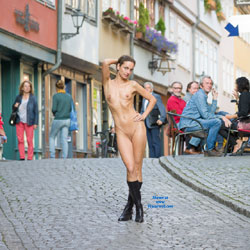Naked Stroll - Shaved, Public Place, Public Exhibitionist