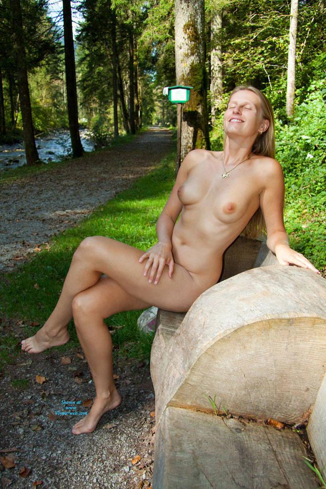 Nude walk in the woods