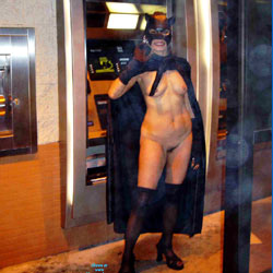 Catwoman On The Prowl - Exposed In Public, Nude In Public, Costume , Flew Over From The Big Island To Attend The EEB A Few Years Ago. And After We Prowled Around The Town.