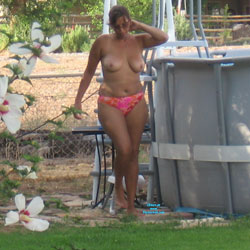 Cleaning My Pool Topless - Big Tits, Wife/Wives