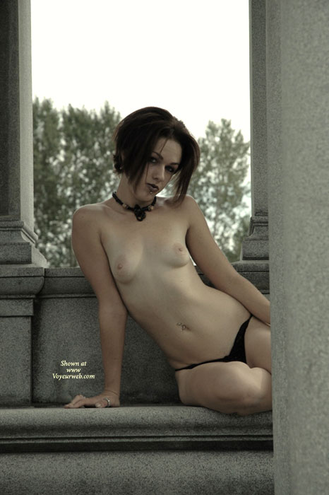 Pic #1 - Small Breasts - Flashing, Pale Skin, Small Breasts, Small Tits, Topless , Pale Skin, Topless In Public, Goth, Monument Flashing, Breasts And Belly Exposed, Slender Arms, Thin Body, Topless On Granite, City Tramp, Black G-string, Black Leather Choker, Sitting Topless On Bench, Slender Petite
