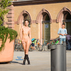 Train Station - Brunette, Public Exhibitionist, Public Place, Shaved