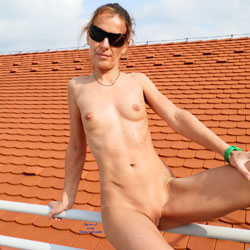 Naked On The Roof Wearing Sunglasses - Brunette Hair, Exposed In Public, Full Nude, Milf, Naked Outdoors, Natural Tits, Nipples, Nude In Public, Shaved Pussy, Showing Tits, Small Breasts, Small Tits, Sunglasses, Hairless Pussy, Hot Girl, Sexy Body, Sexy Face, Sexy Figure, Sexy Girl, Sexy Legs