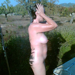 Outdoor Shower - Big Tits