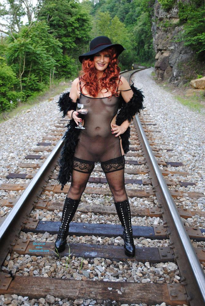 Pic #1 - Having Fun - Heels, Redhead, Sexy Lingerie , The Train Track