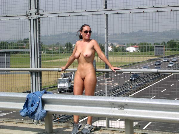 Pic #1 - Nude Freeway Overpass - Nude In Public , Nude Freeway Overpass, Public Nudity, Denim Shirt, Wearing Trainers