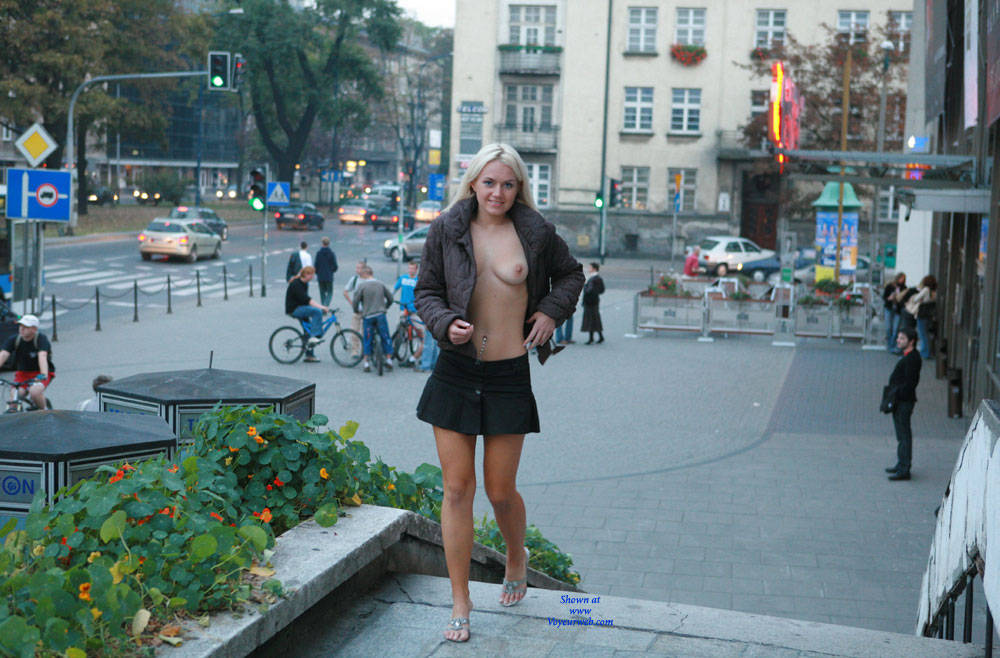 Pic #1 - Justyna Flashing - Big Tits, Blonde Hair, Exposed In Public, Flashing, Nude In Public , Blonde, Nude In Public, Sexy, Posing Nude, Softcore
