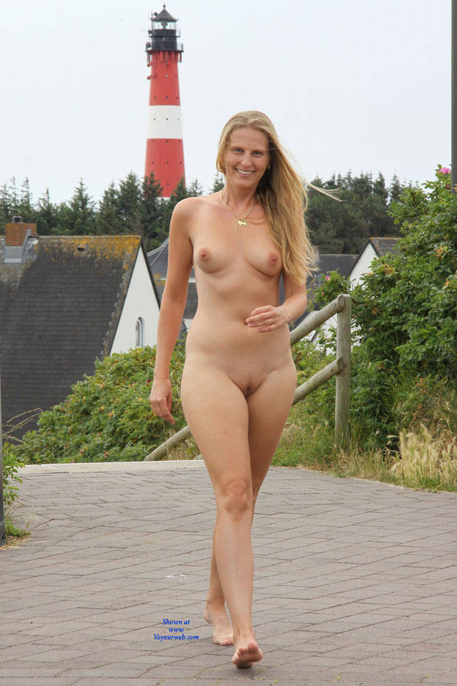 Blonde Girl Walking Naked - January, 2015 - Voyeur Web -8803