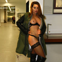 Conny In The German Museum - Big Tits, Public Exhibitionist, Public Place