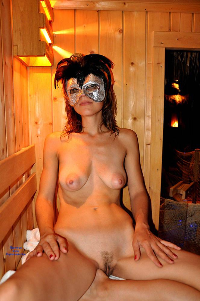 Pic #1 - Valentina And Sauna - Big Tits, Brunette Hair , Brunette, Natural Tits, Medium Tits.