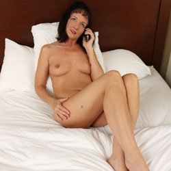 Abby's Fun In The Nude Phone Session - Shaved, Brunette, Big Tits