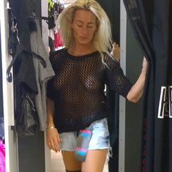 Curtain Not Closed - Blonde, Public Exhibitionist, Public Place, See Through