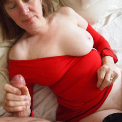 Blowjob In Red - Big Tits