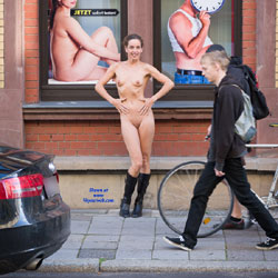 Standing Naked In The City - Boots, Brunette Hair, Erect Nipples, Exposed In Public, Firm Tits, Flashing, Naked Outdoors, Nipples, Nude In Public, Small Tits, Hot Girl, Naked Girl, Sexy Body, Sexy Figure, Sexy Girl, Sexy Legs, Sexy Woman