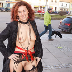 Lena's Winter Adventure - Redhead, Public Place, Public Exhibitionist, Lingerie, Flashing