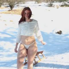 Lena's Snow Fun - Big Tits, Nude In Public, Redhead , Hi, 