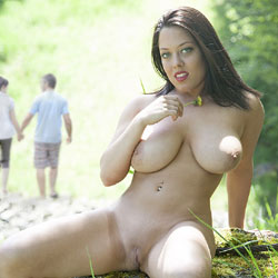 Sad To Say Goodbye - Big Tits, Brunette, Public Exhibitionist, Public Place, Shaved