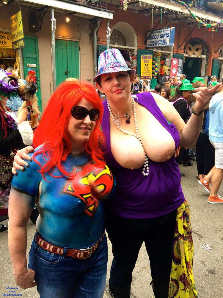 Pic #1 - 2015 Mardi Gras - Big Tits , Body Paint, Mardi Gras, Naked, Nude, Painted Tits