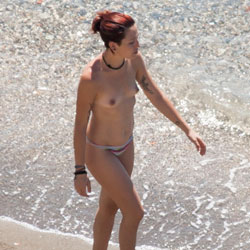 Topless Milf On A Beach Stroll - Beach
