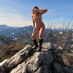 Crazy Hot Bunny In The Snow - Redhead, Wife/Wives