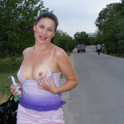 I Love It - Big Tits, Brunette, Flashing, Public Exhibitionist, Public Place