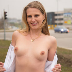 Bri Near The Road - Exposed In Public, Nude In Public, Shaved