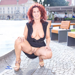 Lena City Fun - Big Tits, Flashing, Public Exhibitionist, Public Place, Redhead