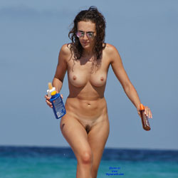 Only Wearing Glasses - Beach, Big Tits, Brunette
