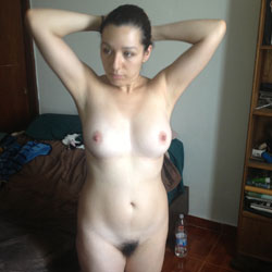 Naked Brunette At Her Bedroom - Big Tits, Brunette Hair, Firm Tits, Full Nude, Hairy Bush, Hairy Pussy, Hard Nipple, Indoors, Showing Tits, Sexy Body, Sexy Boobs, Sexy Figure, Sexy Girl, Sexy Legs, Sexy Woman, Latina