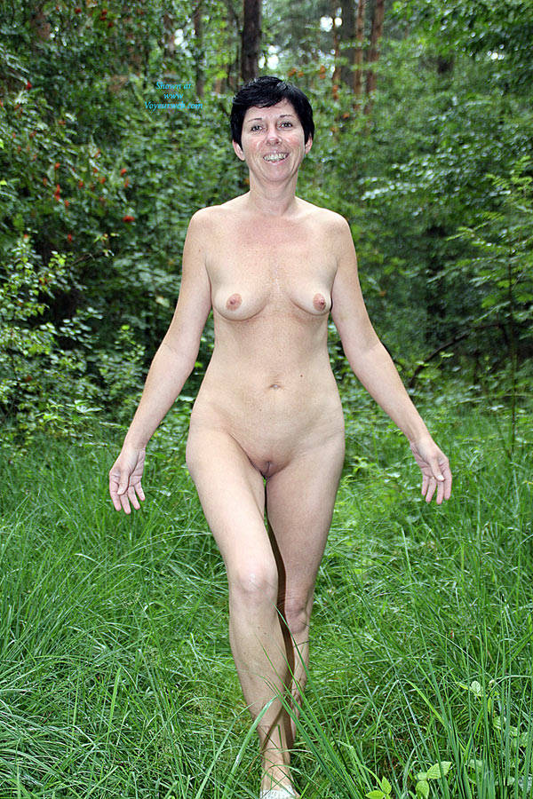Nude walk in the woods