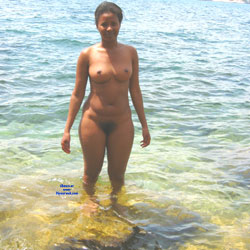 Ebony Nude In The Sea - Big Tits, Brunette, Ebony, Bush Or Hairy