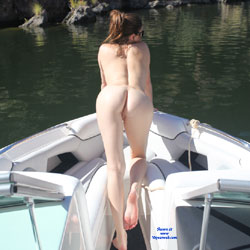 Naked Brunette Riding A Boat On The Lake - Brunette Hair, Exposed In Public, Naked Outdoors, Nude In Nature, Nude Outdoors, Round Ass, Sunglasses, Water, Hot Girl, Sexy Ass, Sexy Body, Sexy Feet, Sexy Girl, Sexy Legs
