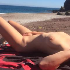 Mastubating On A Public Beach - Beach, Big Tits